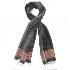 Line Silk + Wool Scarf (Black)