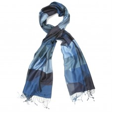 Checks Pure Satin Silk Scarf (Blue)