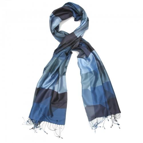 Checks Pure Satin Silk Scarf (Blue)