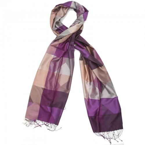 Checks Pure Satin Silk Scarf (Purple)