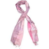 Checks Pure Satin Silk Scarf (Pink)