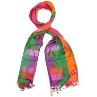 Checks Pure Satin Silk Scarf (Orange & Green)