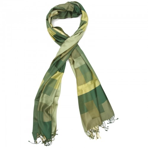 Checks Pure Satin Silk Scarf (Green)