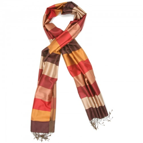 Horizontal Lines Pure Satin Silk Scarf (Red & Brown)