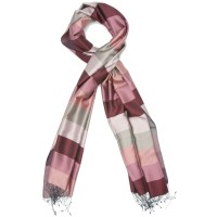 Horizontal Lines Pure Satin Silk Scarf (Pink)
