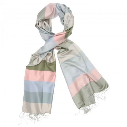 Horizontal Lines Pure Satin Silk Scarf (Green & Pink)