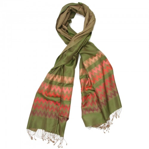 Chevron Pure Satin Silk Scarf (Moss green)