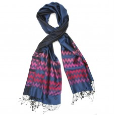 Chevron Pure Satin Silk Scarf (SteelBlue)