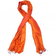 Reversible Pure Satin Silk Scarf (Orange)