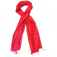 Reversible Pure Satin Silk Scarf (Red)