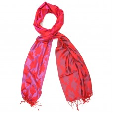 Leaf Pure Satin Silk Scarf (Red)