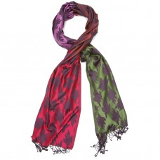 Leaf Pure Satin Silk Scarf (Red & Green)