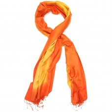 Gradient Pure Satin Silk Scarf (Orange And Yellow)