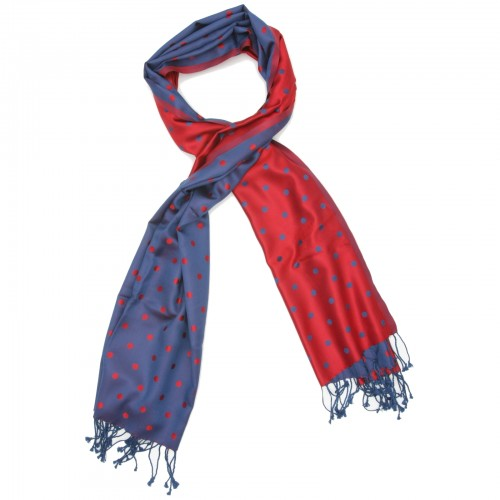 Dots Pure Satin Silk Scarf (Red & Purple)