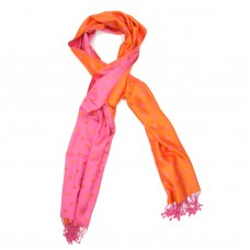 Dots Pure Satin Silk Scarf (Orange & Pink)