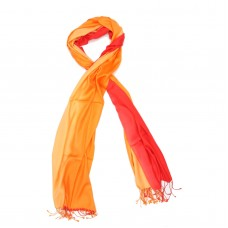 Vertical Gradient Pure Satin Silk Scarf (Red & Orange)