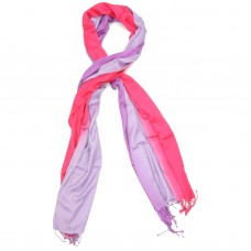 Vertical Gradient Pure Satin Silk Scarf (Pink)