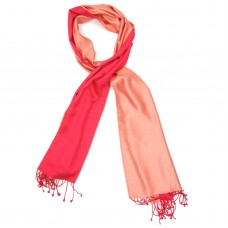 Plain Reversible Pure Satin Silk Scarf (Red & Peach)