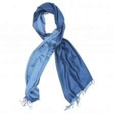 Plain Reversible Pure Satin Silk Scarf (Blue Gray & Steel Blue)