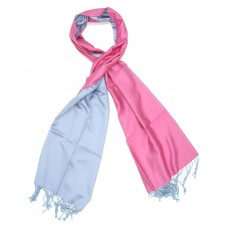 Plain Reversible Pure Satin Silk Scarf (Pink & Blue )