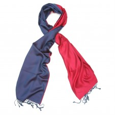 Plain Reversible Pure Satin Silk Scarf (Red And Blue)
