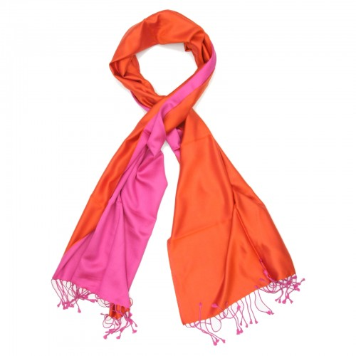 Plain Reversible Pure Satin Silk Scarf (Pink & Orange )