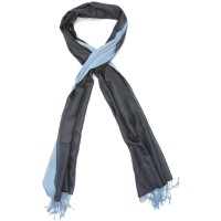 Plain Reversible Pure Satin Silk Scarf (Blue Grey & Blue)