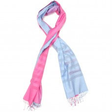 Gradient Pure Satin Silk Scarf (Light Pink & Light Sky Blue)