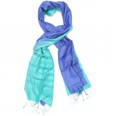 Gradient Pure Satin Silk Scarf (Light Turquoise & Slate Blue)