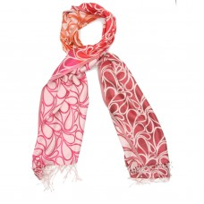 Paisley Pure Satin Silk Scarf (Pink, orange, red orange, brown, pearl)