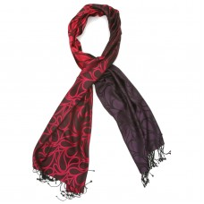 Paisley Pure Satin Silk Scarf (Red orange, pink, eggplant,coffee)
