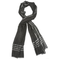 Horizontal and Vertical lines Silk & Wool Scarf (Dark Grey)