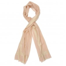 Horizontal & Vertical Line Silk + Wool Scarf (Peach)