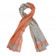 Big Check Silk + Wool Scarf (Grey & Red)