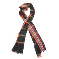 Horizontal Line Pure Wool Scarf (Black)