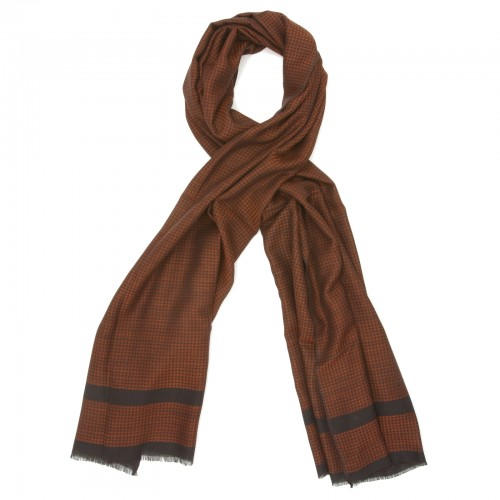 Small Checks Cotton + Wool Scarf (Red)