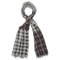 Checks Cotton + Wool Scarf (Grey)