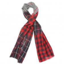Checks Cotton + Wool Scarf (Red)