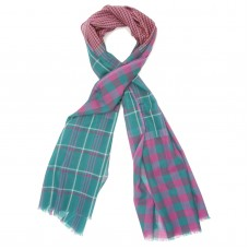 Checks Cotton + Wool Scarf (Turquoise)