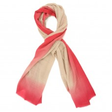 Tie Dye Pure Wool Scarf (Cream And Rose Red)