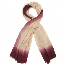 Tie Dye Pure Wool Scarf (Cream And Dark Rich maroon)