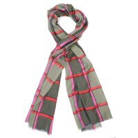 Check Silk + Wool Scarf (Green)
