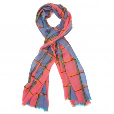 Check Silk + Wool Scarf (Blue)