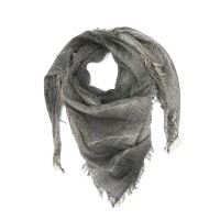 Small Checks Cotton + Bamboo Scarf (Dark Grey)