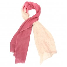 Gradient Cotton & Foil Scarf (White & Magneta)