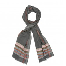 Horizontal Lines Silk + Wool Scarf (Dark Grey)