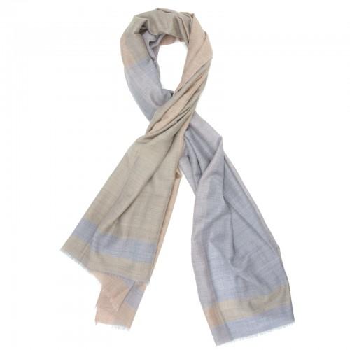 Big Check Silk + Wool Scarf (Brown & Purple)