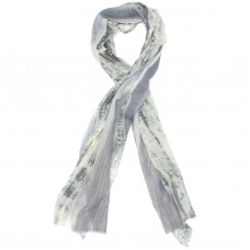 Abstract Silk & Wool Scarf (Grey & Ivory)