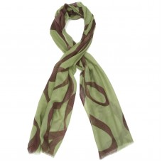 Lines Abstract Silk & Wool Scarf (Green)