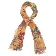 Floral Prints Silk + Wool Scarf (Peach-Orange)